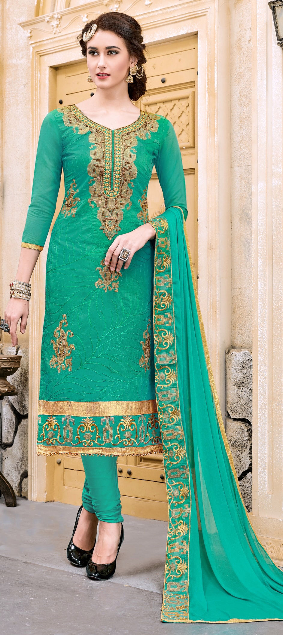 Cotton Bollywood Salwar Kameez in Blue with Resham work