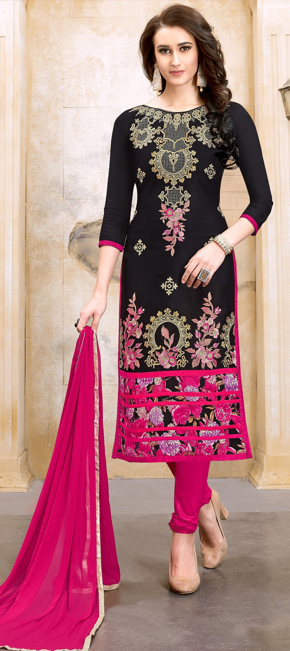 Cotton Bollywood Salwar Kameez in Black and Grey with Resham work
