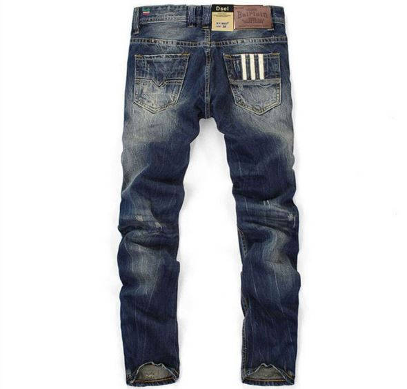 Hot Sale Fashion Brand Men Jeans Straight Dark Blue Color Printed Jean