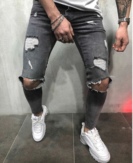Fashion Vintage Streetwear Jeans Blue Gray Color Skinny Destroyed Torn Jeans
