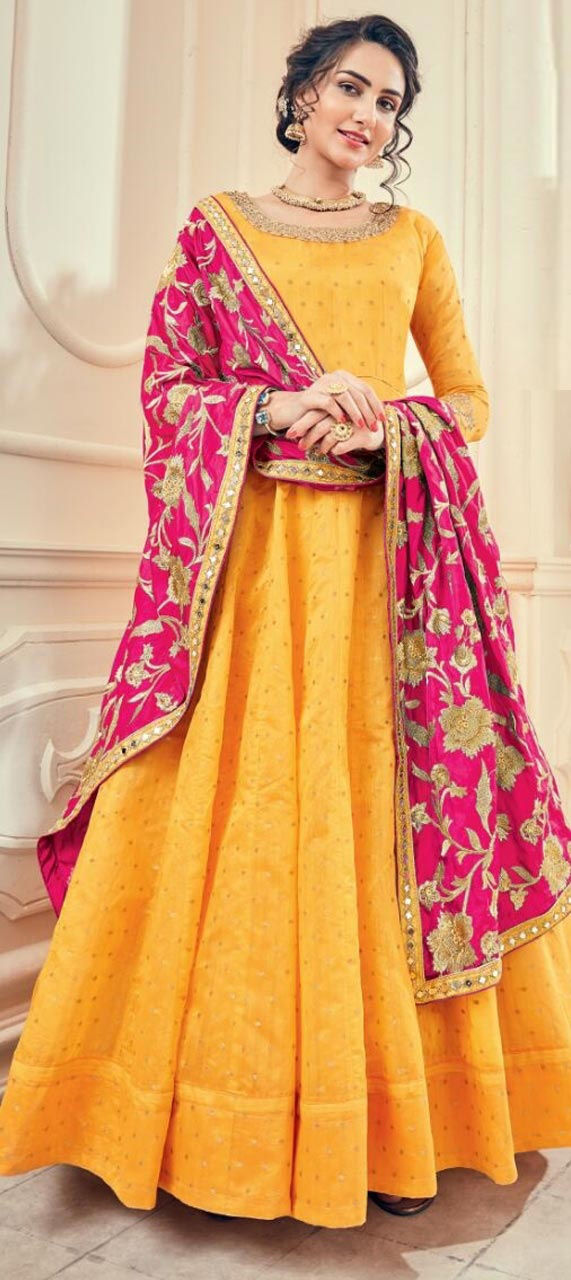 Jacquard Party Wear Salwar Kameez in Yellow with Thread work