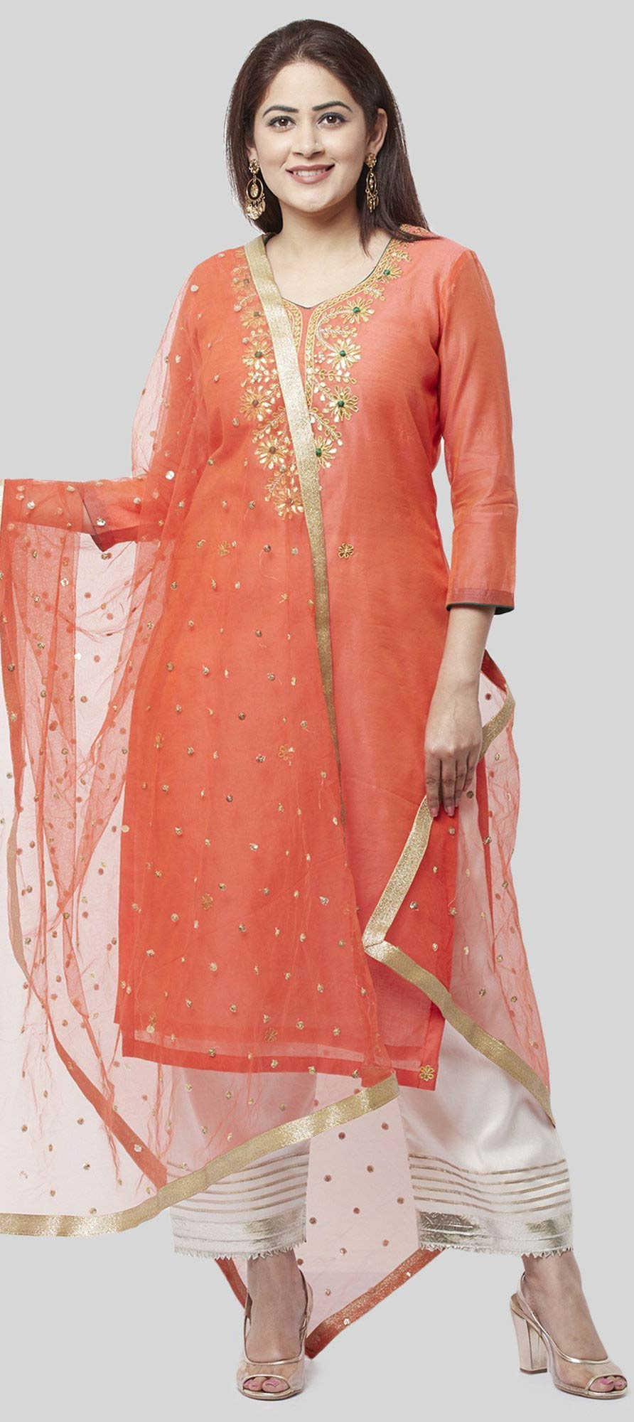Chanderi Silk Party Wear Salwar Kameez in Orange with Embroidered work