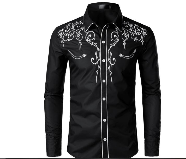 Cowboy Stylish Embroidered Shirt Slim Fit Long Sleeve Men Shirts Brand Design Party Banquet Button Down Male Shirt