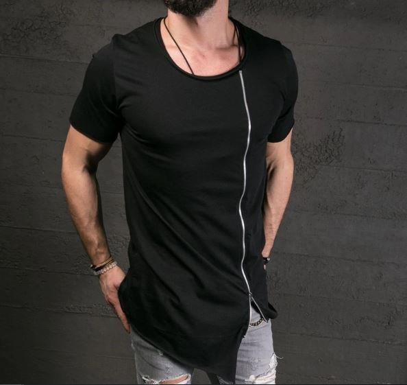 T Shirt Side Zipper O Neck Short Sleeve T-Shirt Hip hop Tops Long T middle zipper tshirt