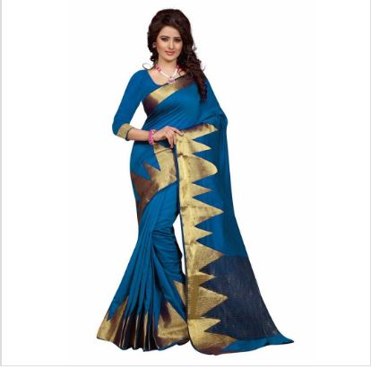 Blue/Red Printed Saree With Unstitced Blouse For Women