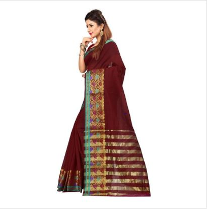 Maroon Leaves Printed Saree With Unstitched Blouse For Women