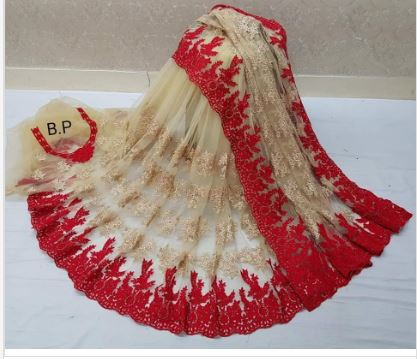 Light golden Net saree with Beautiful Red Border Design for women