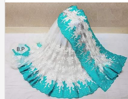 White/sky blure net Party Ware saree for women