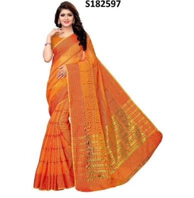 Orange/Golden Art silk Saree With Unstitched Blouse For Women