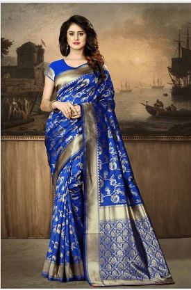 Blue/Golden Floral Printed Saree With Unstitched Blouse For Women