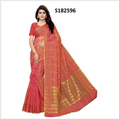 Pink Art silk Saree With Unstitched Blouse For Women