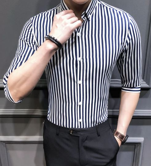 Casual Business Men Long Sleeve Shirt Classic Striped Male Social Dress