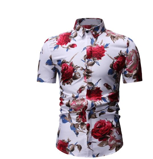 Shirts Men's Slim fit Flower Printed Male Short Sleeve Floral Shirt Mens Basic Casual
