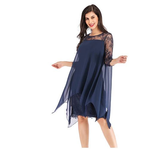 Chiffon Patchwork Dress Women O-neck 3/4 Sleeves Loose A Line Elegant Ladies Dress Hollow Evening Party Dress