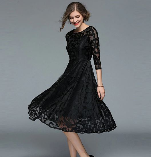 Fashion England Style Luxury Elegant Slim Ladies Party Dress Women Lace Casual Dresses
