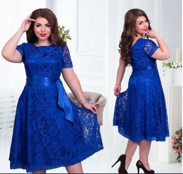 Women Dress Plus Size 6XL Lace Lady Elegant Short Sleeve Dress Fashion Casual Lace Up Party Dresses