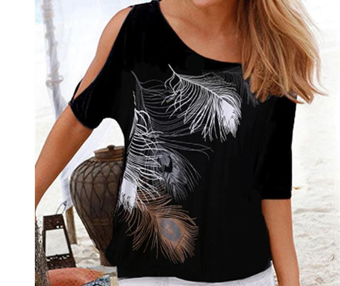 T Shirt Casual Tops T-shirt Shoulder Off Sexy Feather Print T-Shirt O-neck Plus Size