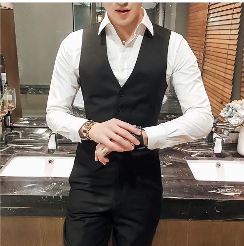 Men's Business Suit / Brand High-end Groom Wedding Dress mens Formal Suit Vest