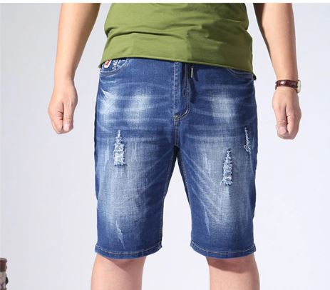 Jeans Loose Casual Denim Ripped Man Short Big Plus Size 4XL 5XL 6XL 150KG Elastic hole Men Pants