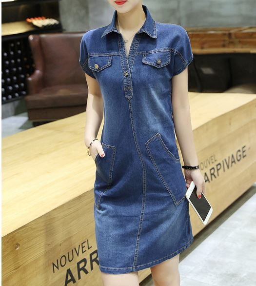 Women Tops Korean Summer Short Sleeve Long Slim Casual Slim Denim All-match Dress