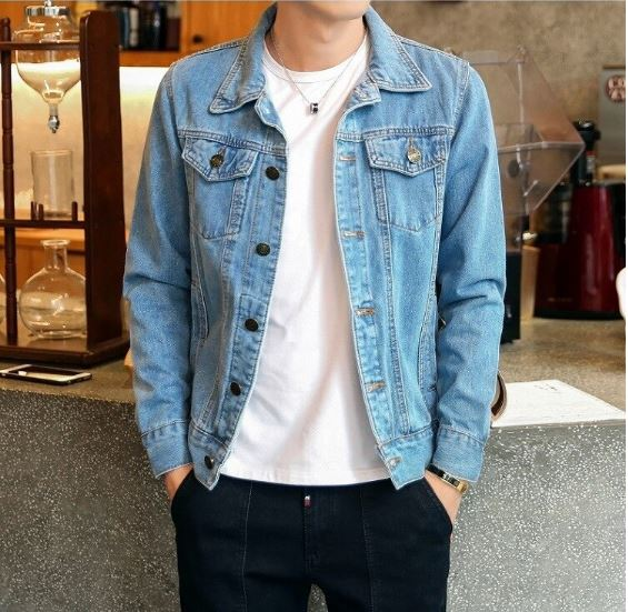 Mens Jeans Jacket Turn-down Collar Single-breasted Casual Jacket Male Slim Cowboy Jean top Outwear