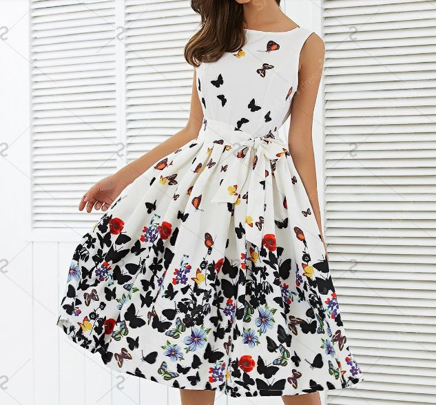 Women Fashion Butterfly Floral Pleated Vintage Swing Summer Dresses Sleeveless Dresses Zipper Sashes Retro Party Dress