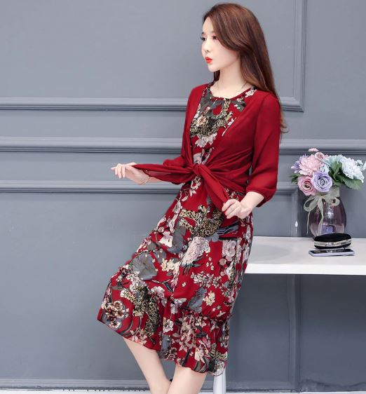 Summer Dress Women Floral Print Long Dresses Chiffon Two-Piece Set Women Dresses