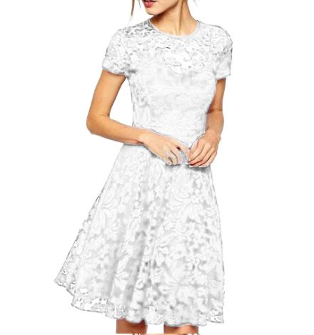 Dress Women O-Neck Short Sleeve Blue Lace Fit and Flare Casual Fashion Noble Valuable Novel Women Dress