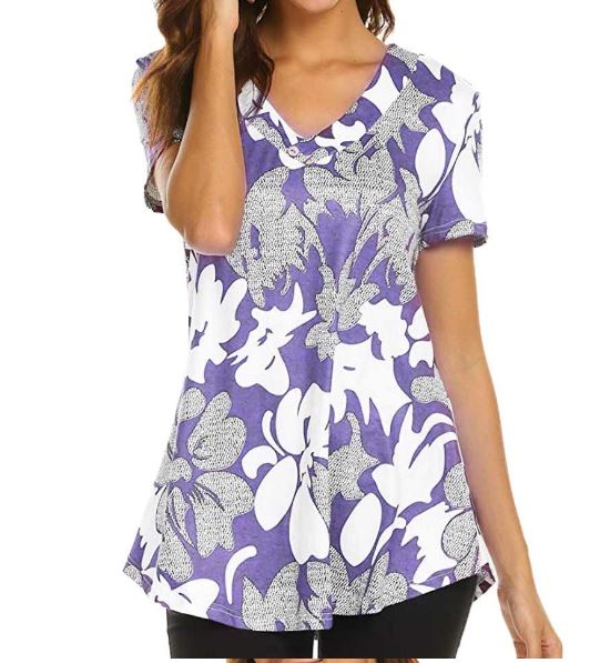Casual Short Sleeve Top Print Fashion Shirt Ladies Tops V-neck Blouse Shirts