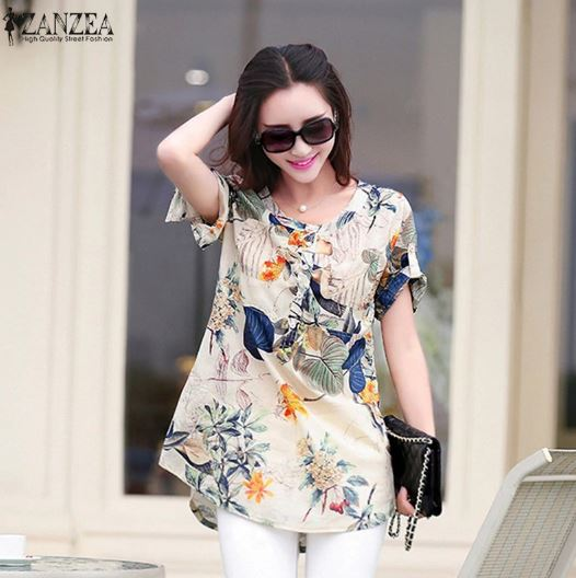 Short Sleeve Vintage Floral Shirt Print Blouse Tops Casual Loose