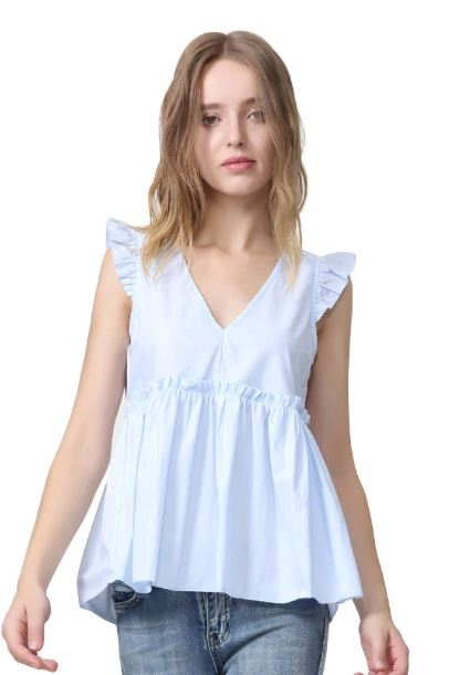 Neck Back Bow Lace Pleated Sleeveless Shirt Ladies Casual Sweet Chic Tops
