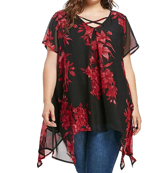 Tops And Blouses Plus Size Criss Cross Double Chiffon Print Short Sleeve Shirt Tops