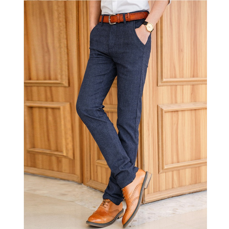 Men Casual Trousers Cotton Stretch Slim Long Straight Pants Men Formal Work Pants High Quality