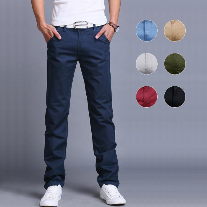 Men Casual Pants Slim Cotton Straight Trousers Spring Summer Long Pants VK-ING