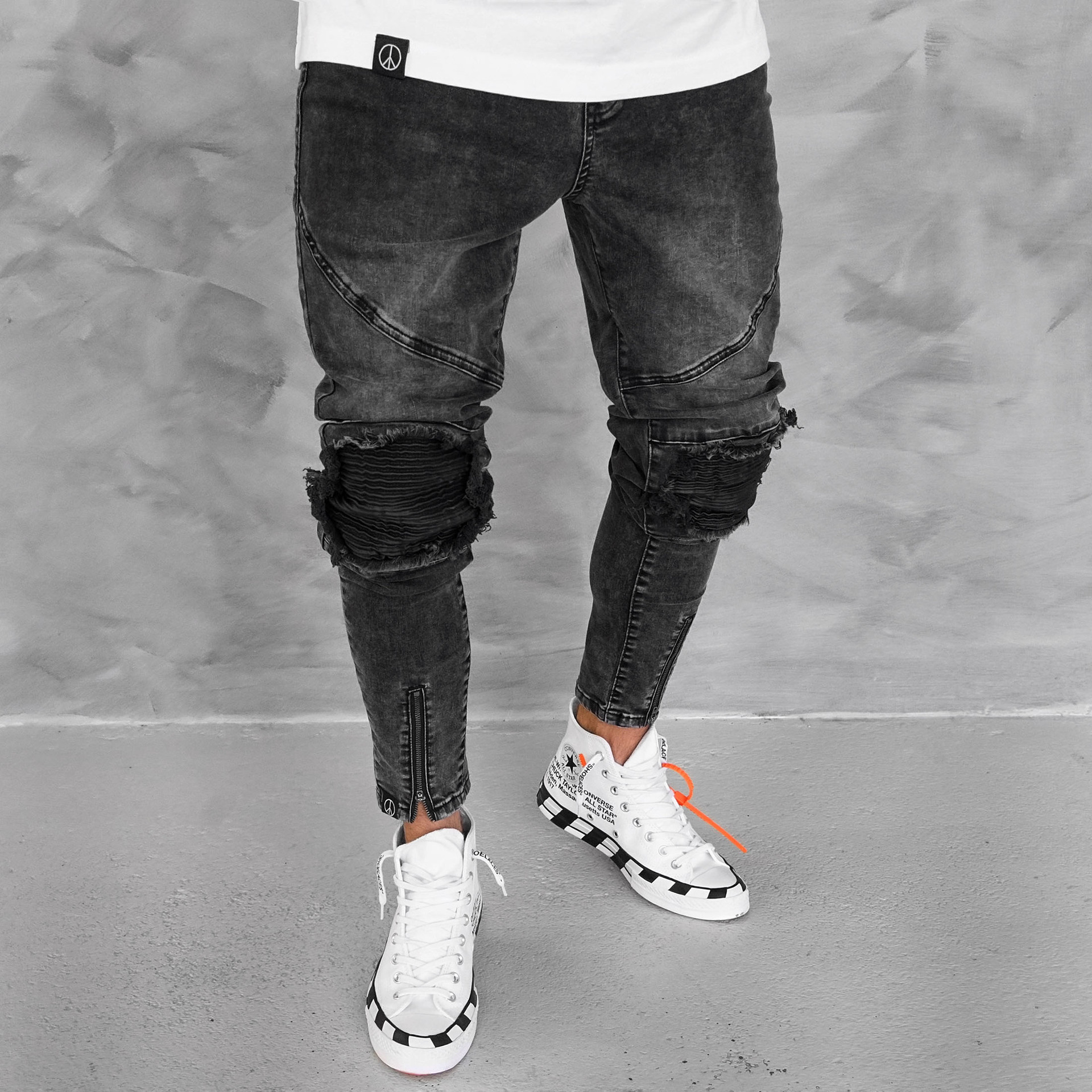 Jean Slim Homme New Fashion Clothing Jens Men Hole Jean Homme Brand Zipper jeans black