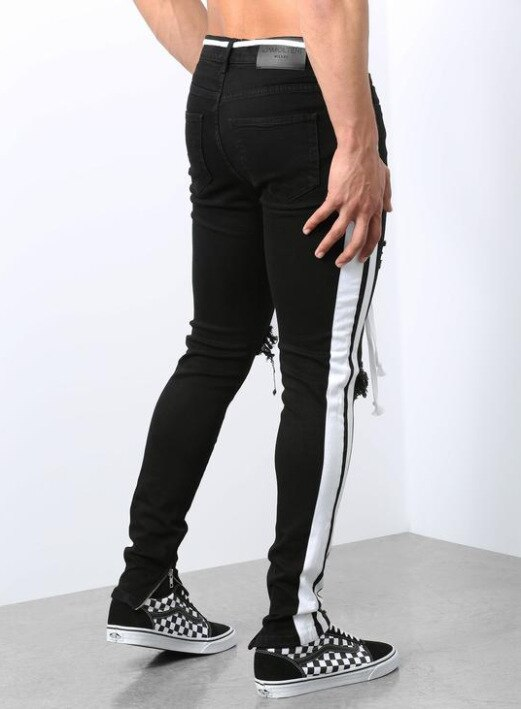 Black Jeans Homme Hombre Jean Broken Hole Zipper Men Striped Side Jeans Men