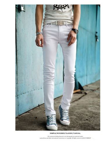 Casual White Color Men Hip Hop Pencil Pants Skinny Teenagers Student Boys Casual Slim