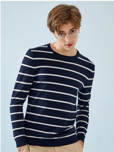 Sweater Crewneck Men's Pullover Striped Ribbed Sweater and Cuffs and Hem Men Slim Fit Casual Sweaters