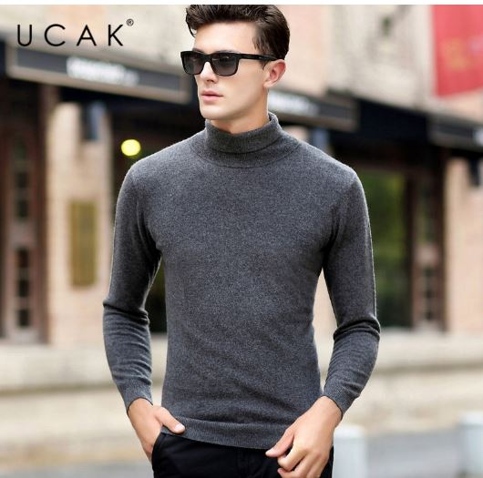 Sweater Men Casual Classic Pull Homme Men Pullover Autumn Winter Pure Merino Wool Cashmere Turtleneck Sweaters
