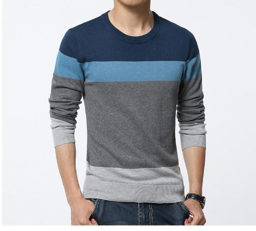 Men's Casual Sweater O Neck Striped Slim Fit Knittwear Men Sweaters Pullovers Pullover Me