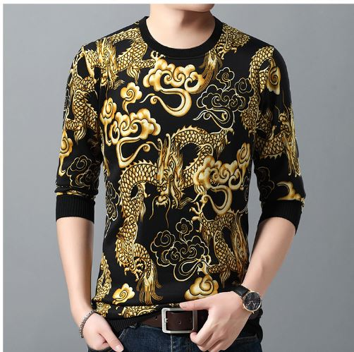 casual autumn winter warm pullover loong male sweater men's thick knitted dress mens blouses shirt