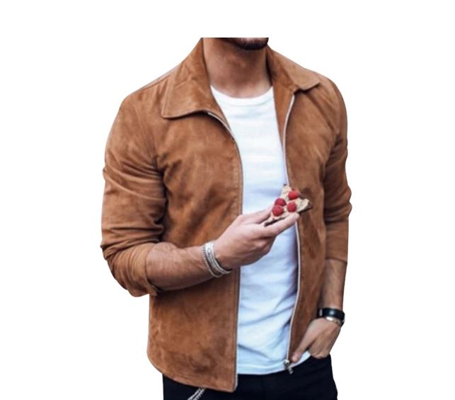 Men's Suede Leather Jacket Slim Fit Motorcycle Biker Jacket Coat Zipper Outwear Streetwear