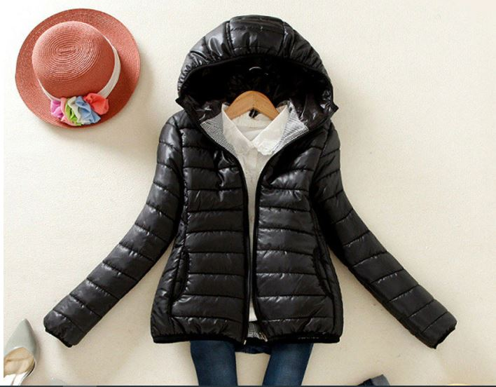 jacket female warm warm thin hooded zipper jacket female casual ladies basic coat vercoat streetwear