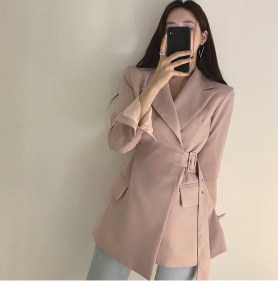 Winter Women Office Jackets Ladies Lace up Formal Outwear Solid Elegant Pink Black