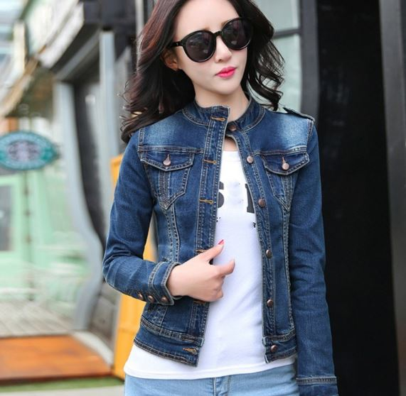 Ladies Long Sleeve Denim Jacket Vintage Slim Jean Casual Coat Turn Down Collar Short Jeans Jacket