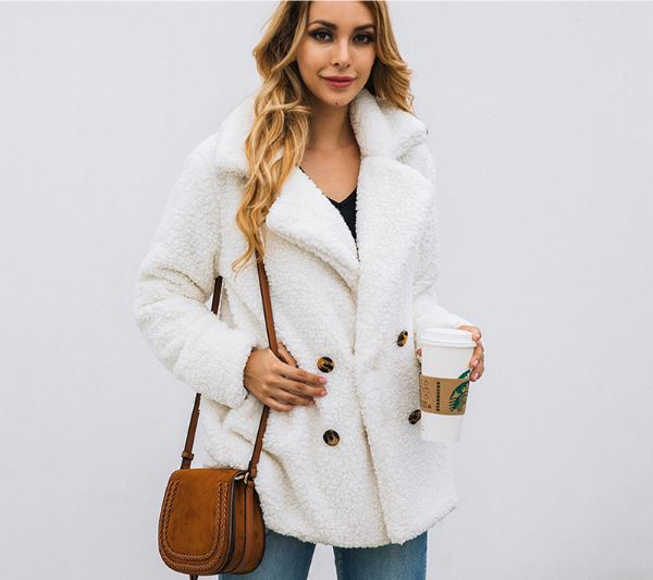 long sleeve autumn winter thick warm jacket coats plus size loose button pocket pink plush lady flannel
