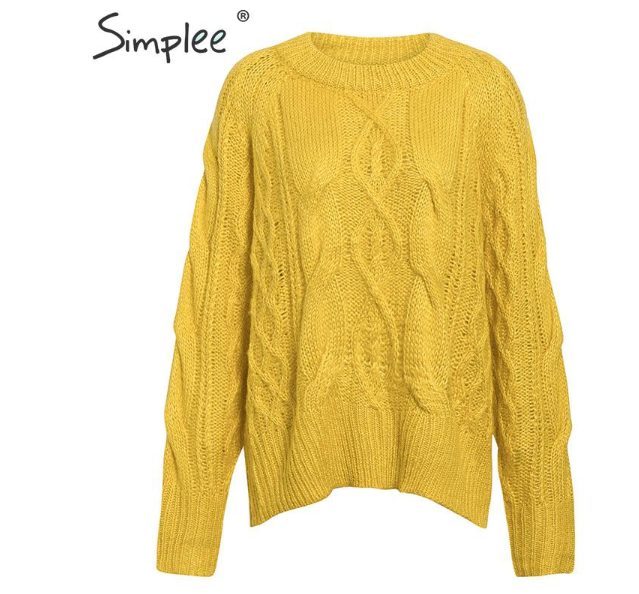 women knitted sweater Long sleeve loose lazy female autumn sweater O-neck solid ladies yellow sweater