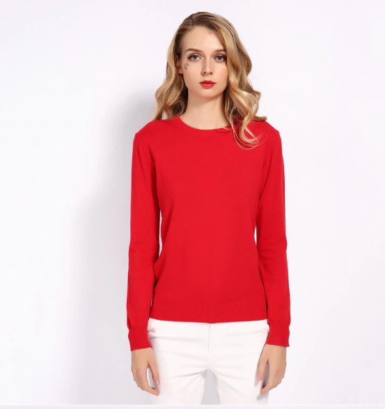 Women 30% Wool Sweater Candy Jumper Casual Stretch Fall Winter Basic Render Knit Pullover