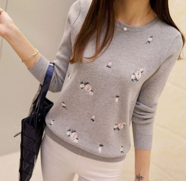 Women Embroidery Ladies Pullover Female Autumn High Elastic Tricot Jumper Fashion Winter