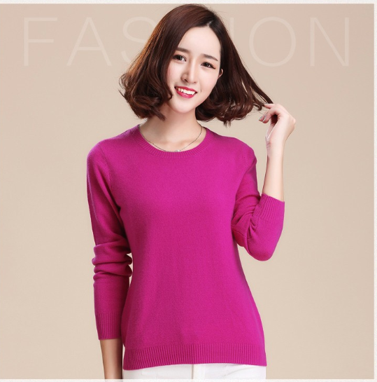 Women Sweaters And Pullovers Women Fashion O-Neck Solid Color Long Sleeve Knitted Sweater